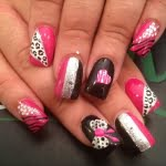 silver pink black white zebra cheetah nail art design