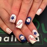 White blue star tennis ball nail art design