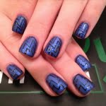 Blue Black Abstract Symbol Nail Design