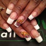 pink and white with leaf autumn nail art design