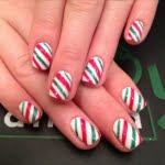 White with Candy Cane christmas nail art designs