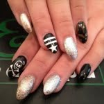 gold silver black white skull star nail art designs