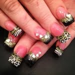Green Black and White Glitter with Cheetah Leopard Animal Print Nail Art Design