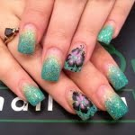 turquoise glitter purple nail art design