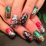 Colorful glitter zebra with cheetah nail art designs