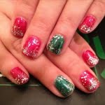 Glitter red turquoise silver christmas nail art designs