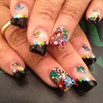 black colorful butterfly flower cute girly nail art design
