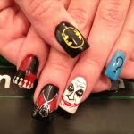 Black white with Joker batman cartoon nail art designs