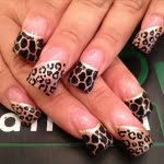 Gold Black Tips with Leopard Cheetah and Giraffe Animal Print Nail Art Design