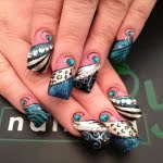 Blue Silver Black Tips with Abstract and Animal Print Nail Art Design