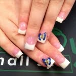 Pink and white with blue butterfly nail art design