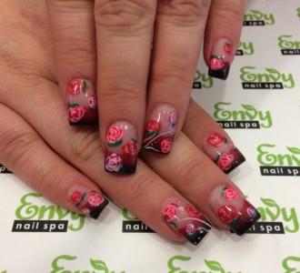 flower nail design,rose