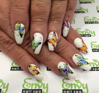 butterfly,flower nail design